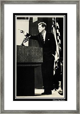 John F Kennedy Press Conference Framed Print by Audreen Gieger-Hawkins