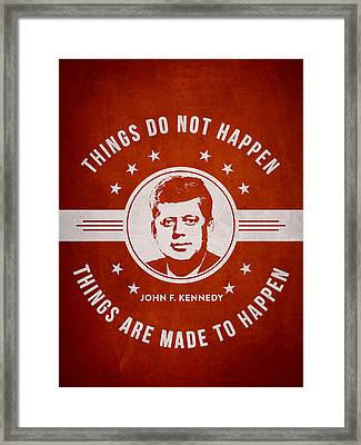 John F Kennedy - Red Framed Print by Aged Pixel