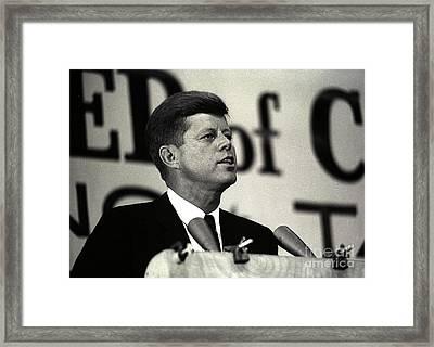 John F. Kennedy Speaking, 1963 Framed Print by Larry Mulvehill