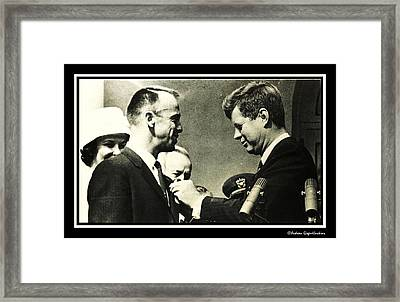 John F Kennedy With Astronaut Alan B Shepard Jr Framed Print