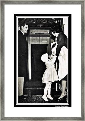 John F Kennedy With Jacqueline And Children Framed Print by Audreen Gieger