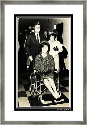 John F Kennedy With Jacqueline And Newborn John Framed Print by Audreen Gieger