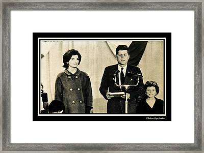 John F Kennedy With Jacqueline Making Acceptance Speech Framed Print