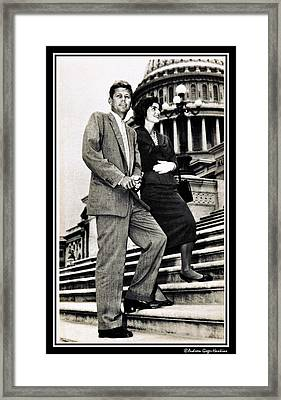 John F Kennedy With Jacqueline On Steps Framed Print by Audreen Gieger