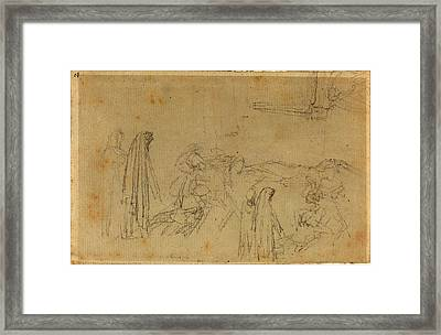 John Flaxman, British 1755-1826, Sketches With A Hooded Framed Print by Litz Collection