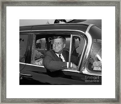 Framed Print featuring the photograph John Kennedy 1960 by Martin Konopacki Restoration
