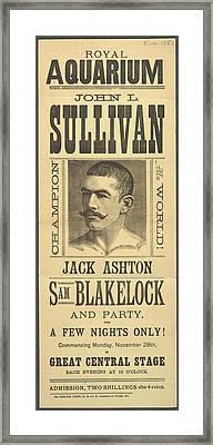 John L. Sullivan Framed Print by British Library