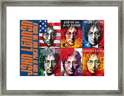 John Lennon - A Man Of Peace And The World. A Collage Framed Print by Vitaliy Shcherbak