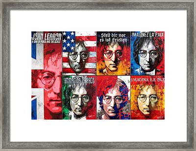 John Lennon - A Man Of Peace And The World. Second Poster Framed Print by Vitaliy Shcherbak