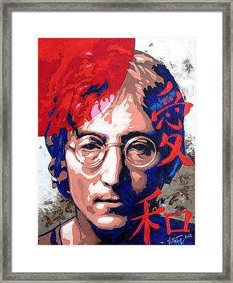 John Lennon - A Man Of Peace. The Number Three. Framed Print by Vitaliy Shcherbak