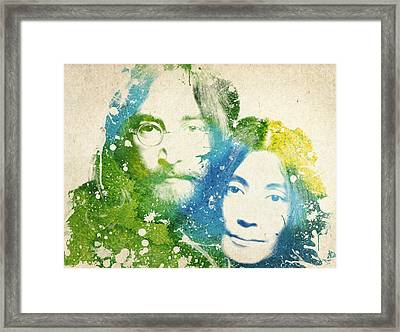 John Lennon And Yoko Ono Framed Print by Aged Pixel