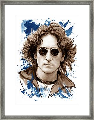 John Lennon Colour Drawing Art Poster Framed Print by Kim Wang