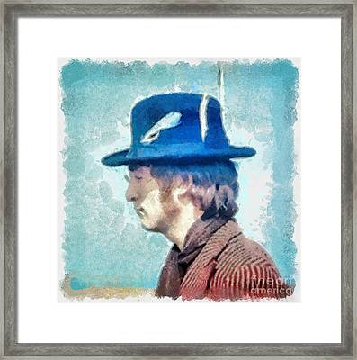 John Lennon - Feathers In His Hat Framed Print by Paulette B Wright
