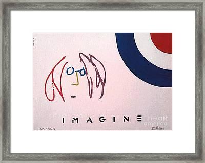 John Lennon - Imagine Framed Print by Richard John Holden RA