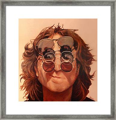 Framed Print featuring the painting John Lennon by Janice Dunbar