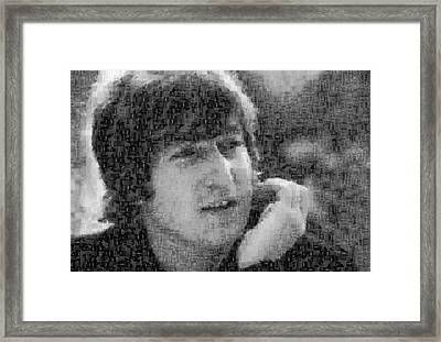 John Lennon Mosaic Image 10 Framed Print by Steve Kearns
