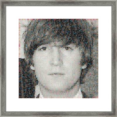 John Lennon Mosaic Image 6 Framed Print by Steve Kearns