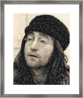 John Lennon Mosaic Image 7 Framed Print by Steve Kearns