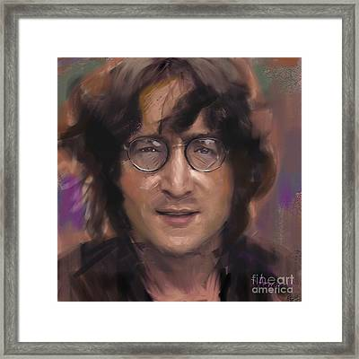 John Lennon Portrait Framed Print by Dominique Amendola