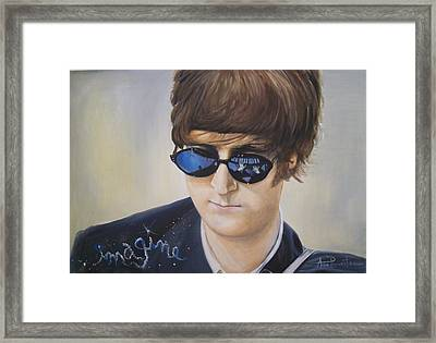 John Lennon-reflections Imagine Framed Print by Anne Provost