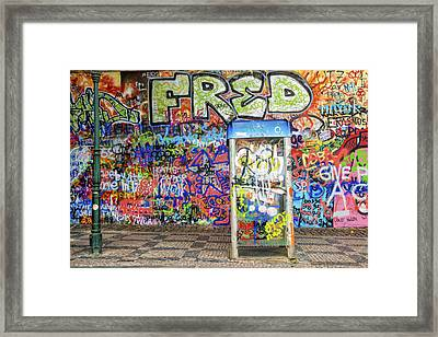 John Lennon Wall In Prague With Colorful Graffiti Framed Print by Matthias Hauser
