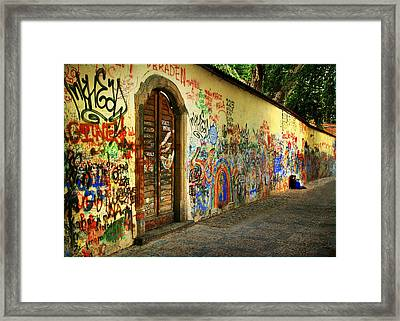 Framed Print featuring the photograph John Lennon Wall by Wendell Thompson