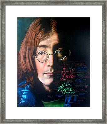 John Lennon - Wordsmith Framed Print by Robert Korhonen