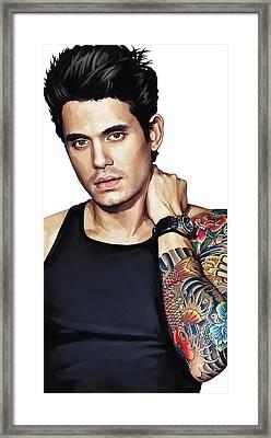 John Mayer Artwork  Framed Print by Sheraz A