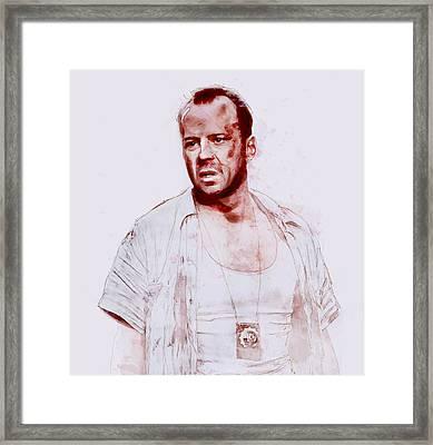 John Mcclane Framed Print by Kurt Ramschissel