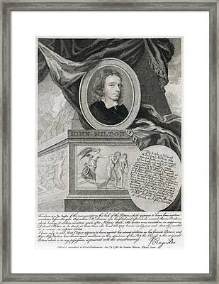 John Milton, English Poet Framed Print by Folger Shakespeare Library