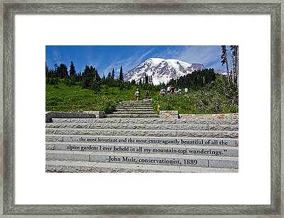 John Muir Quote At Mt Rainier Framed Print by Bob Noble Photography
