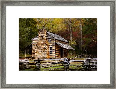 John Oliver Cabin Cades Cove Framed Print by Lena Auxier