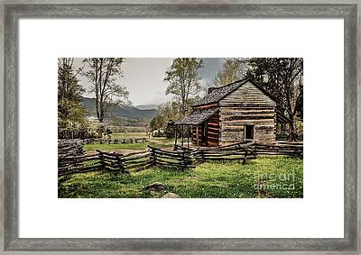 Framed Print featuring the photograph John Oliver's Cabin In Spring. by Debbie Green