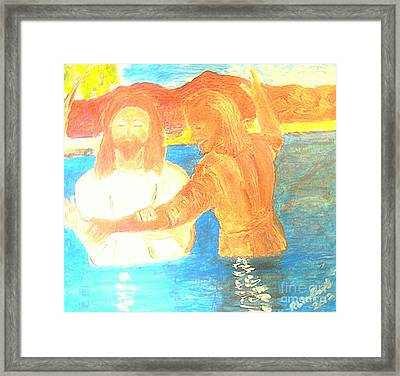 John The Baptist Baptizing Jesus In River Jordan By Immersion Framed Print by Richard W Linford