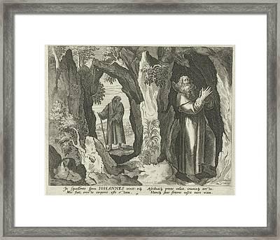 John The Hermit, Johann Sadeler I, Raphal Sadeler Framed Print by Johann Sadeler (i) And Rapha?l Sadeler (i) And Maerten De Vos