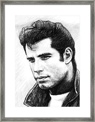 John Travolta Art Drawing Sketch Portrait Framed Print by Kim Wang