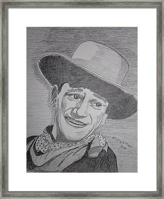 Framed Print featuring the painting John Wayne by Kathy Marrs Chandler