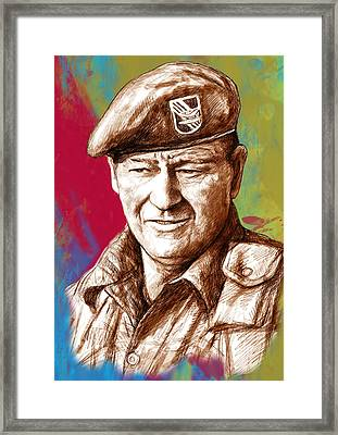 John Wayne Stylised Pop Art Drawing Potrait Poser Framed Print by Kim Wang