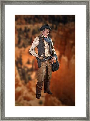 John Wayne The Cowboy Framed Print by Thomas Woolworth