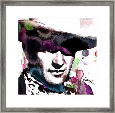John Wayne Water Color Pop Art By Robert R Framed Print