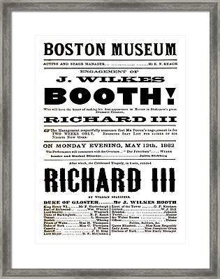 John Wilkes Booth Playbill Framed Print