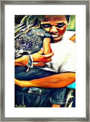 Framed Print featuring the painting Johnelle Saving The World One Child At A Time by Vannetta Ferguson