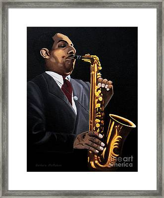 Johnny And The Sax Framed Print by Barbara McMahon