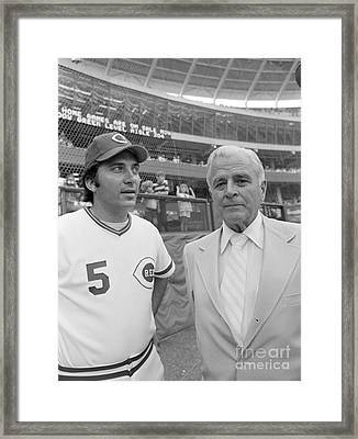 Johnny Bench And Louis Nippert Framed Print