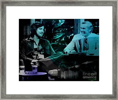 Johnny Carson And Freddie Prince Jr Framed Print