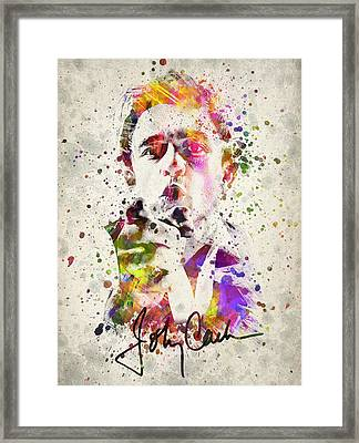 Johnny Cash  Framed Print by Aged Pixel