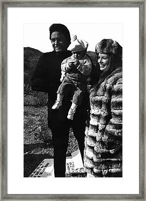 Framed Print featuring the photograph Johnny Cash And Family Old Tucson Arizona 1971 by David Lee Guss