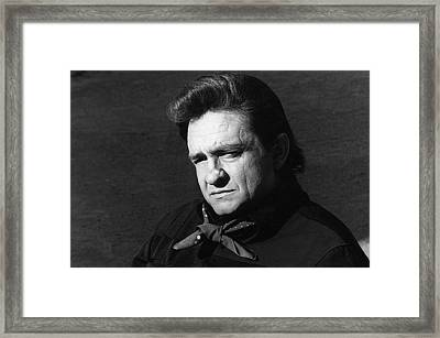 Framed Print featuring the photograph Johnny Cash Close-up The Man Comes Around Music Homage Old Tucson Az  by David Lee Guss