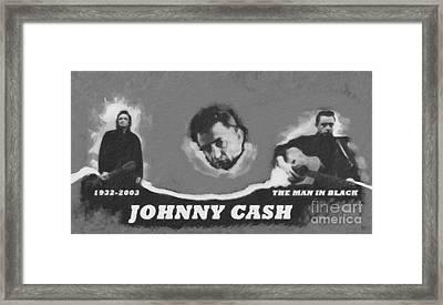 Johnny Cash Framed Print by David Millenheft