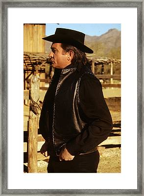 Framed Print featuring the photograph Johnny Cash Golden Gate Peak Old Tucson Arizona 1971 by David Lee Guss